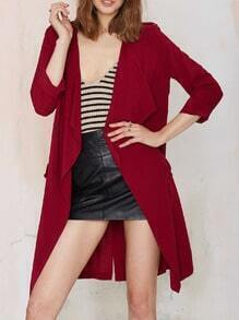 Wine Red Long Sleeve Pockets Trench Coat