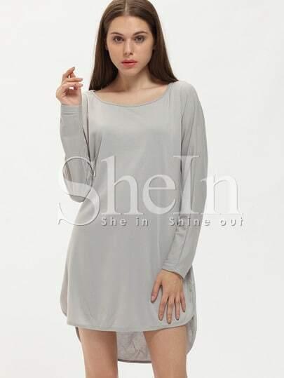 Grey Marl Long Sleeve Casual Dress