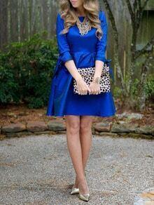 Blue Colbalt Round Neck Flare Dress