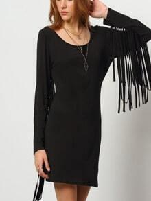 Black Long Sleeve Sophisticated Tassel Dress