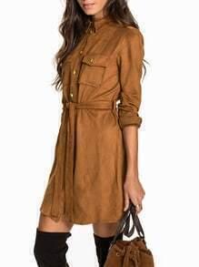 Brown Long Sleeve Lapel Dress