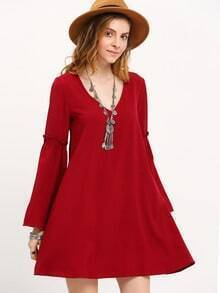 Wine Red Long Sleeve V Neck Dress