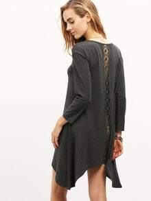 Grey Round Sleeve With Lace T-Shirt