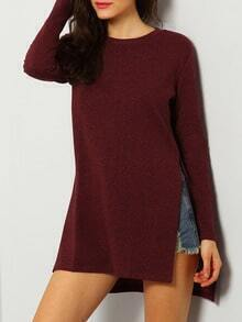 Wine Red Round Neck Split T-Shirt
