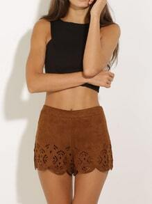 Brown Zipper Hollow Shorts