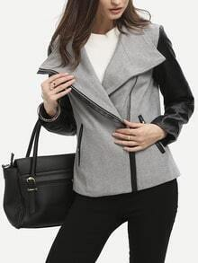 Grey Zipper Color Block Jacket