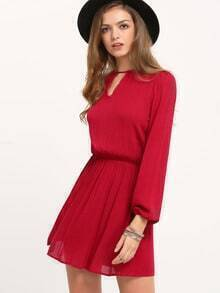 Wine Red Long Sleeve Cut Out Dress
