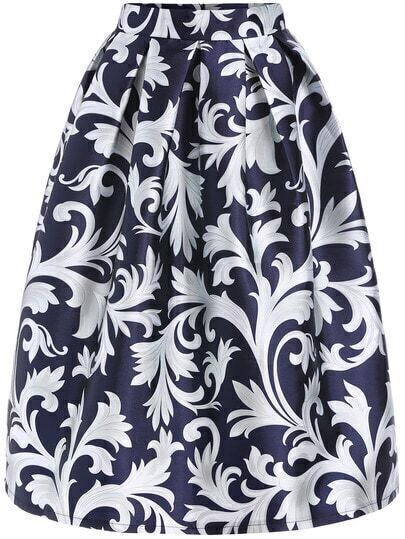 Blue White Floral Flare Skirt
