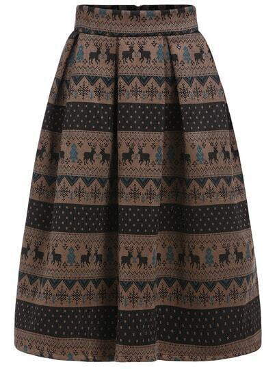 Multicolor Snowflake Deer Print Flare Skirt