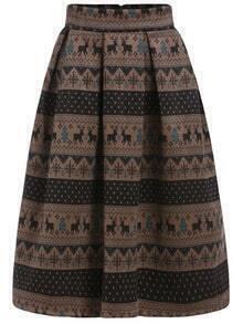 Multicolor Snowflake Deer Print Flare Skirt