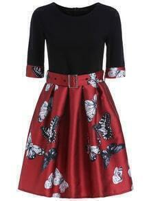 Red Black Round Neck Superb Easter Custom Butterfly Print Dress