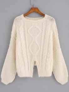 Apricot Split Cable Knit Crop Sweater