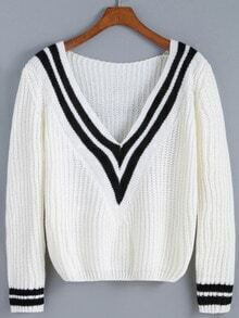 White V Neck Striped Crop Sweater