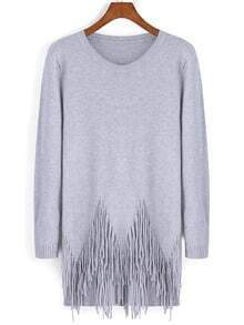 Grey Round Neck Tassel Loose Knitwear