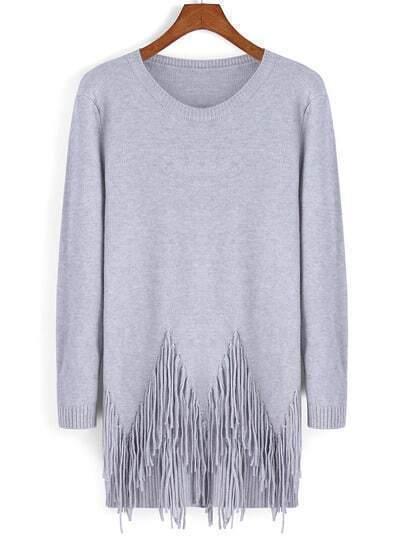 Grey Round Neck Tassel Loose Knitwear