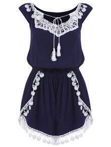 Royal Blue Tie-neck Floral Crochet Jumpsuit