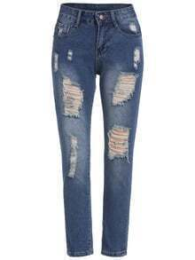 Blue Bleached Ripped Denim Pant