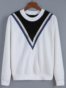 White Contrast Collar V Print Crop Sweatshirt
