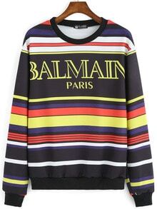 Multicolor Round Neck Striped Letters Print Sweatshirt
