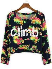 Multicolor Round Neck Floral Letters Print Crop Sweatshirt