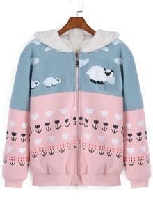 Grey Pink Hooded Long Sleeve Sheep Print Sweatshirt
