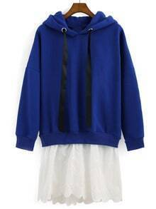 Blue Hooded Contrast Hem Loose Sweatshirt