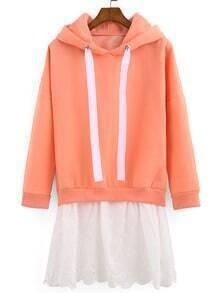 Pink Hooded Contrast Hem Loose Sweatshirt