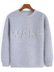 Grey Round Neck Letters Pattern Sweatshirt