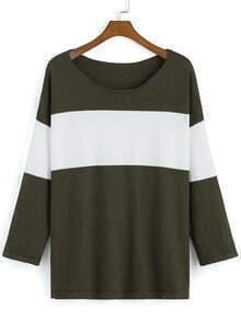 Colour-block Round Neck Loose T-Shirt