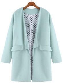 Green Long Sleeve Woolen Casual Coat