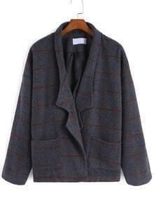 Grey Lapel Plaid Pockets Woolen Coat