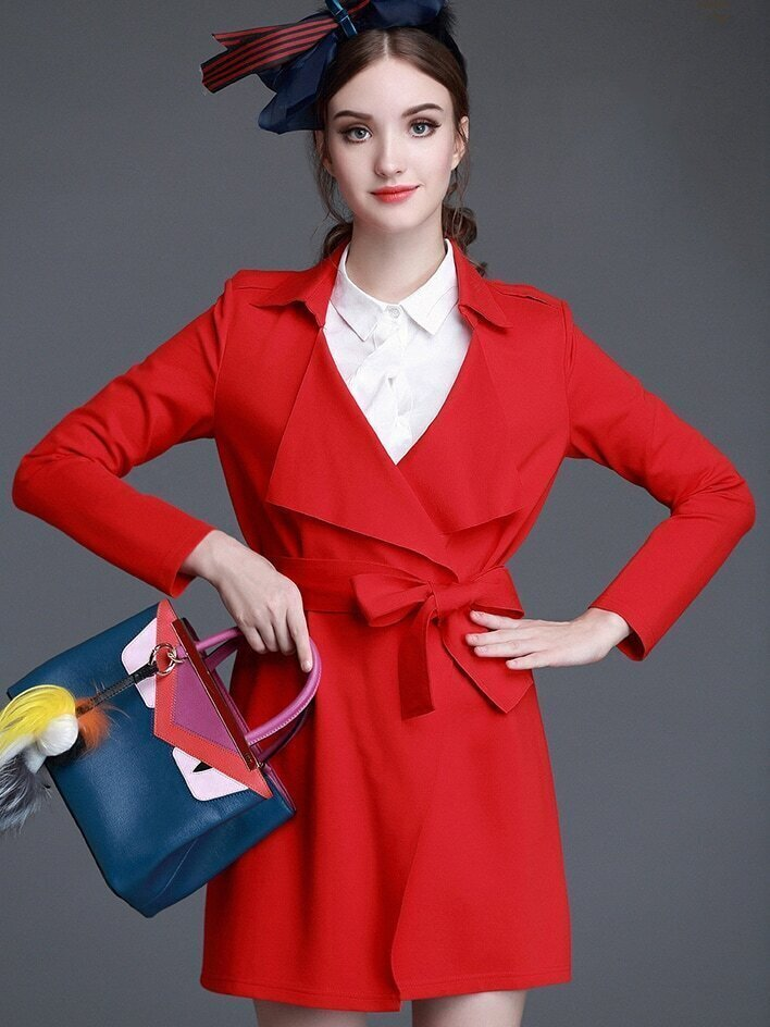 Red Lapel Long Sleeve Tie-Waist Embroidered Coat