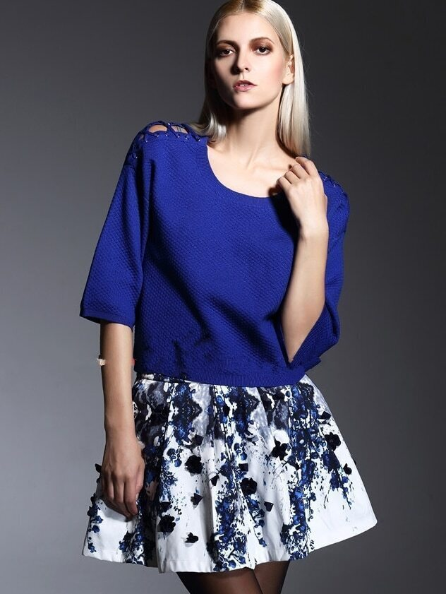 Blue Round Neck Length Sleeve Knit Print Two Pieces Dress
