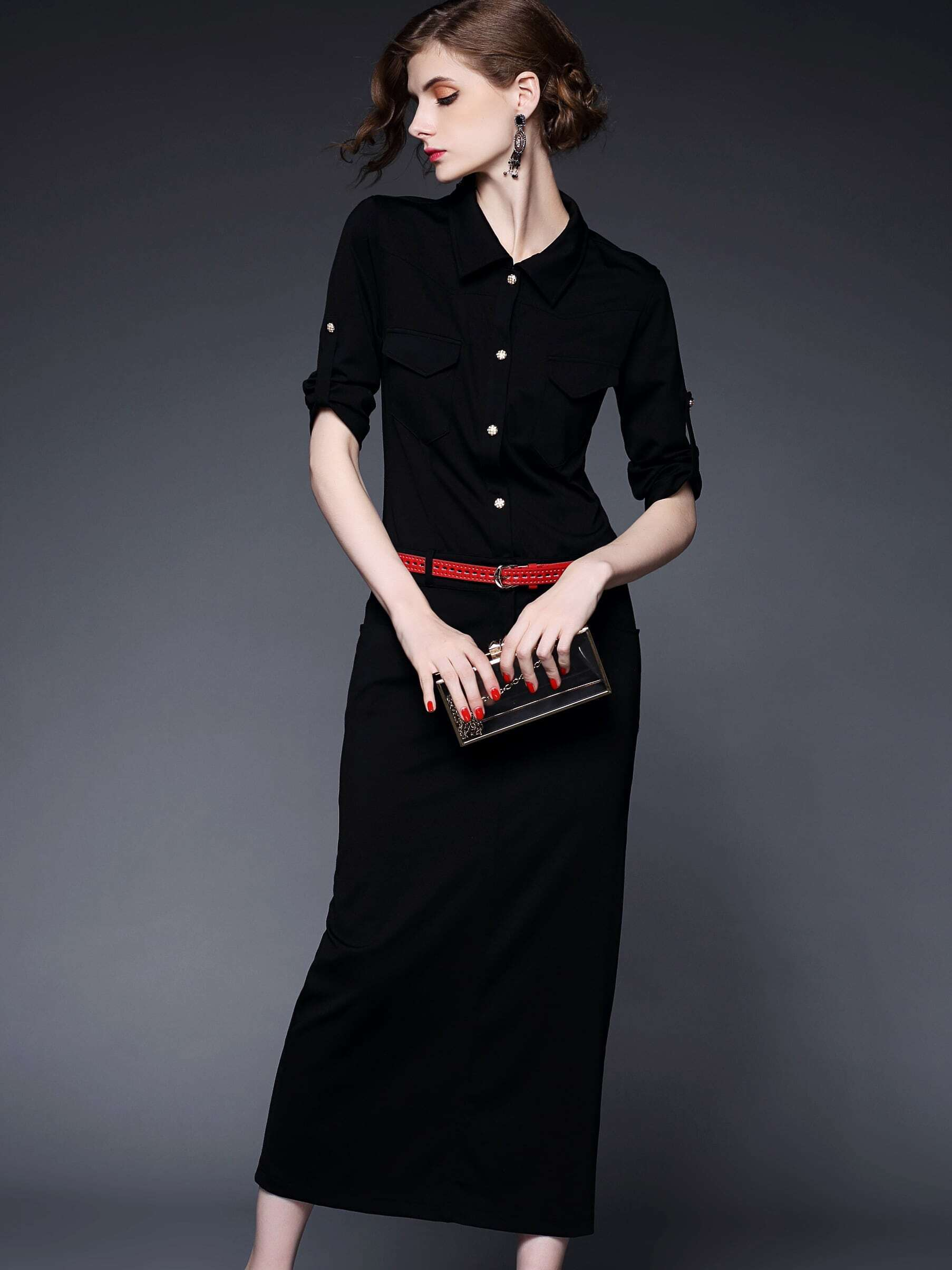 Black Lapel Half Sleeve Drawstring Pockets Dress