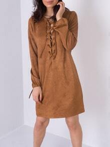 Bronze Camel Long Sleeve Lace Up Dress