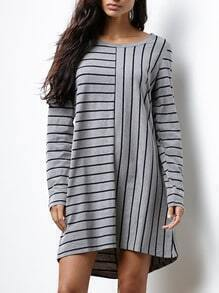 Grey Long Sleeve Striped Dress