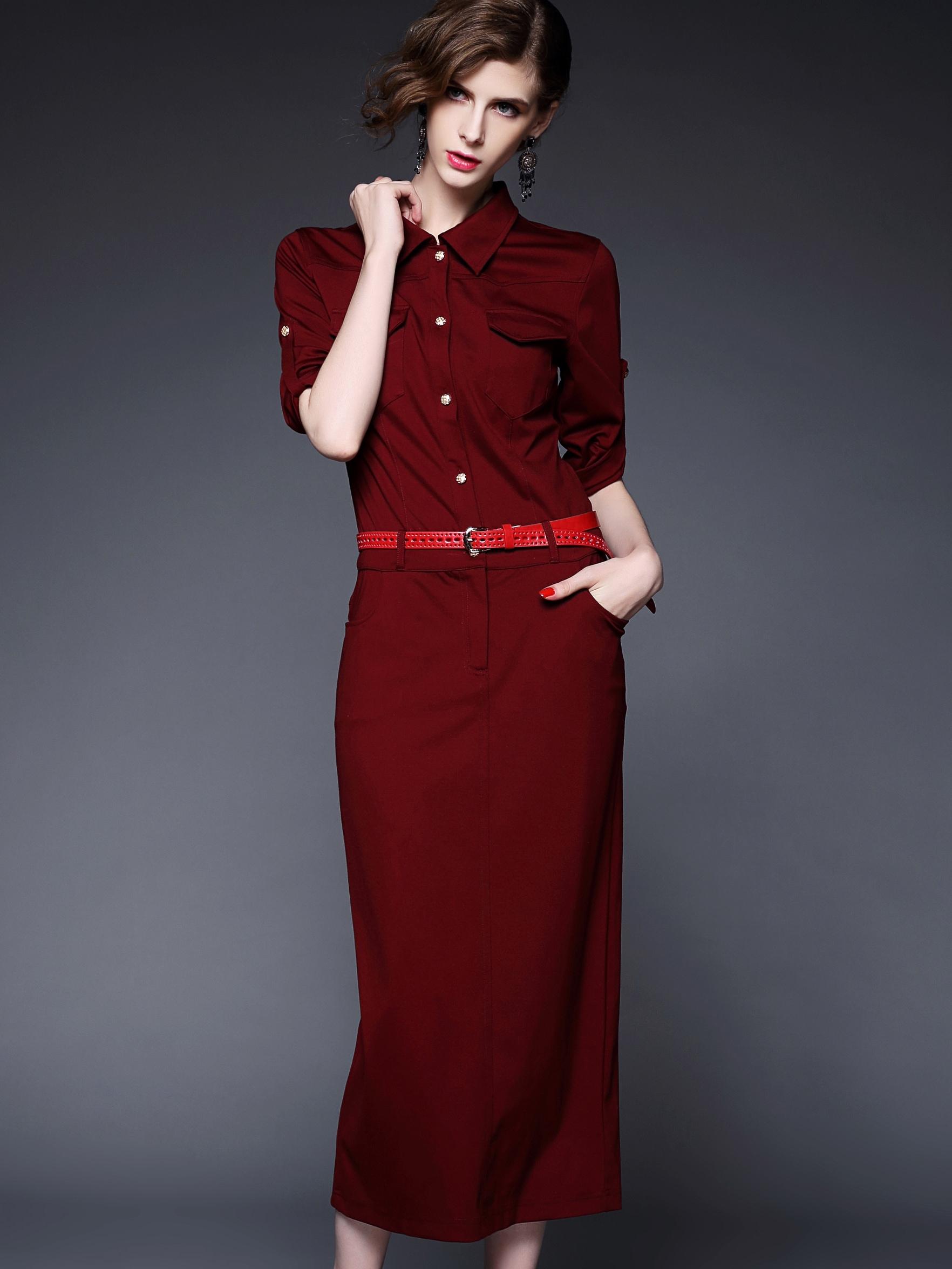 Win Red Round Neck Half Sleeve Drawstring Pockets Dress