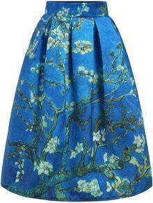 Blue High Waist Branch Print Skirt