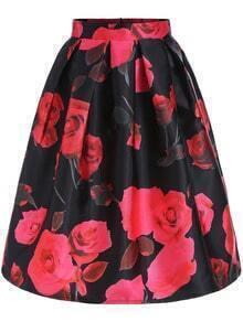 Red Black Rose Print Flare Skirt