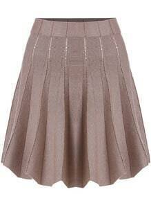 Brown Pleated Knit Skirt