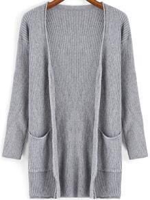 Grey V Neck Pockets Knit Cardigan