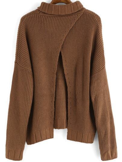 Khaki High Neck Split Loose Sweater