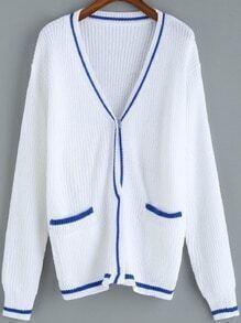 White V Neck Contrast Trims Pockets Cardigan