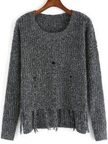 Grey Round Neck Tassel Knit Sweater