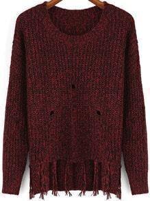 Red Round Neck Tassel Knit Sweater