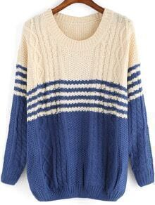 Blue Beige Round Neck Striped Cable Knit Sweater