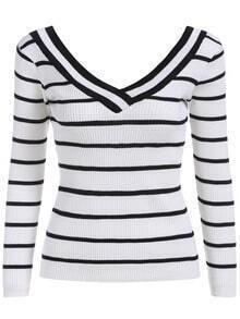 Black White V Neck Striped Crop Knitwear
