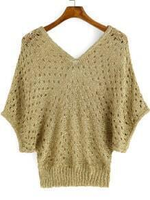 Gold V Neck Batwing Sleeve Hollow Sweater