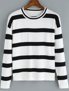 Black Round Neck Striped Casual Knitwear