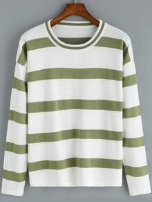 Green Round Neck Striped Casual Knitwear